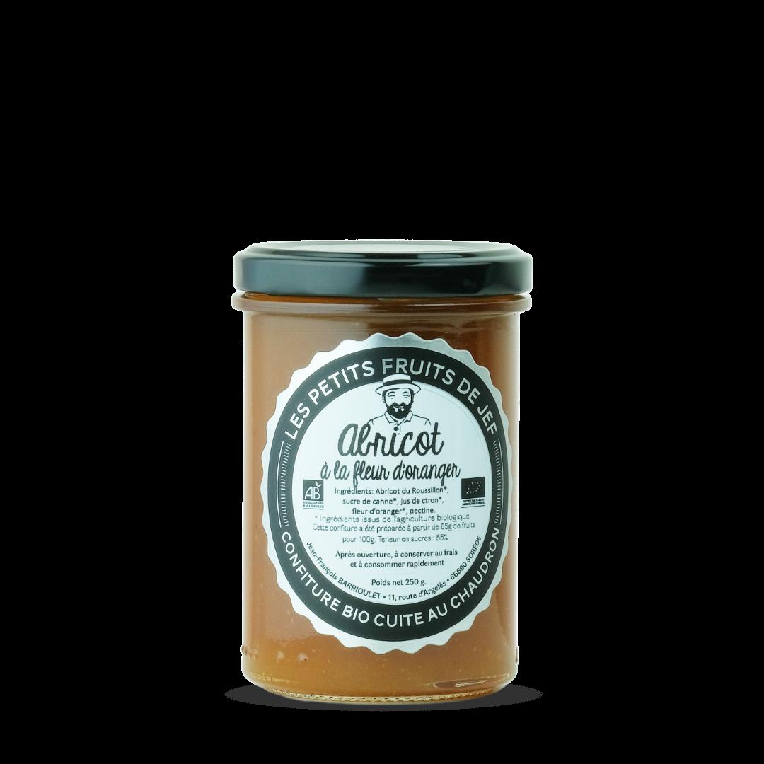 confiture d'abricot à la fleur d'oranger, les petits fruits de Jef, Confiture bio cuite au chaudron
