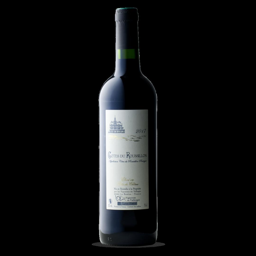vin rouge cotes du roussillon AOP eleve en fut de chene les vignerons du vallespir