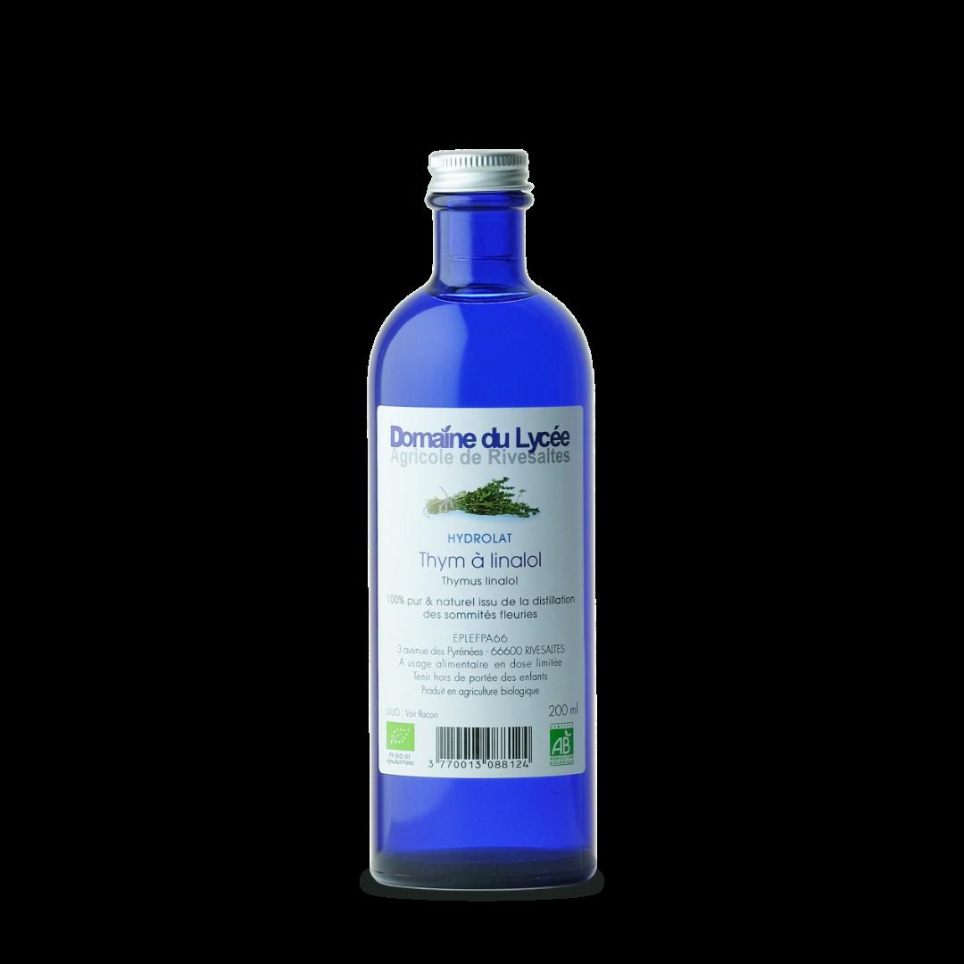 hydrolat bio thym à linalol pur et naturel domaine du lycée de rivesaltes bio