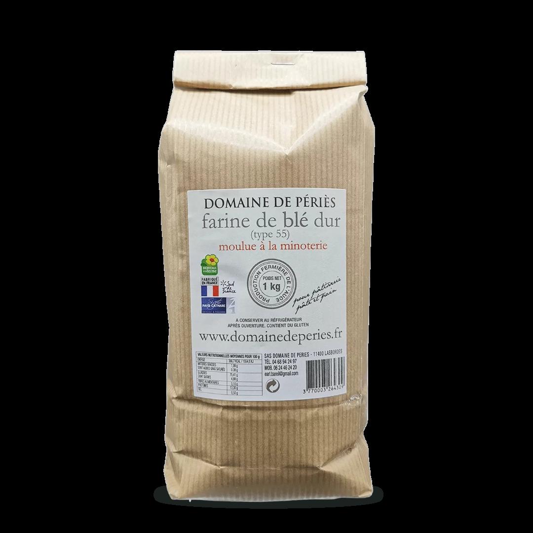 farine de blé dur type 55 moulu à la minoterie domaine de péries