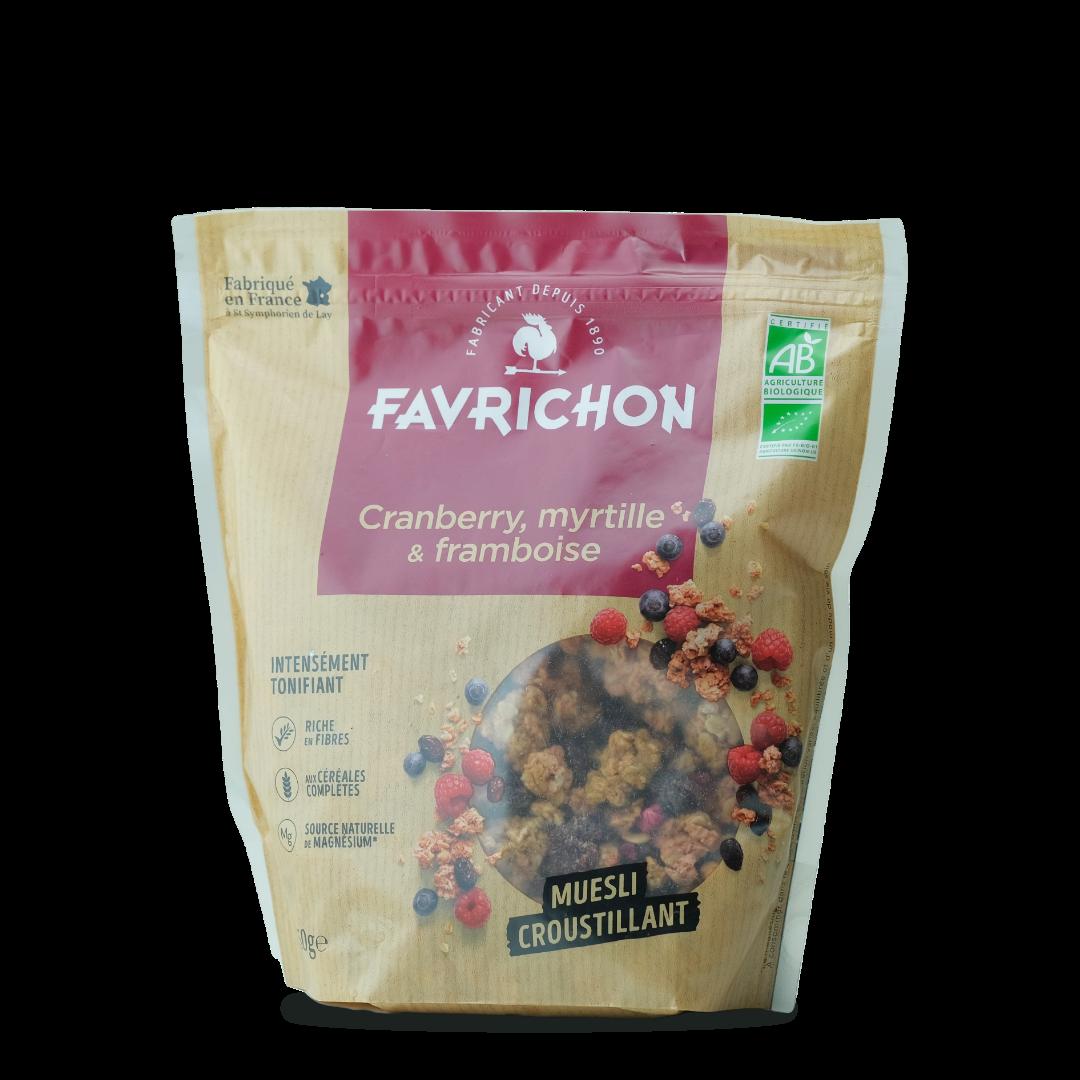 favrichon muesli croustillant cranberry myrtille et framboise bio