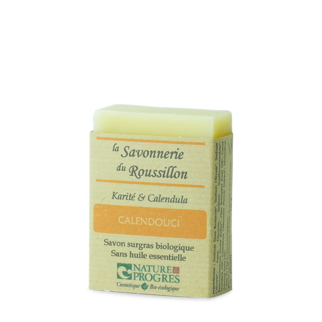 la savonnerie du roussillon calendouci karité et calendula savon surgras biologique sans huile essentielle