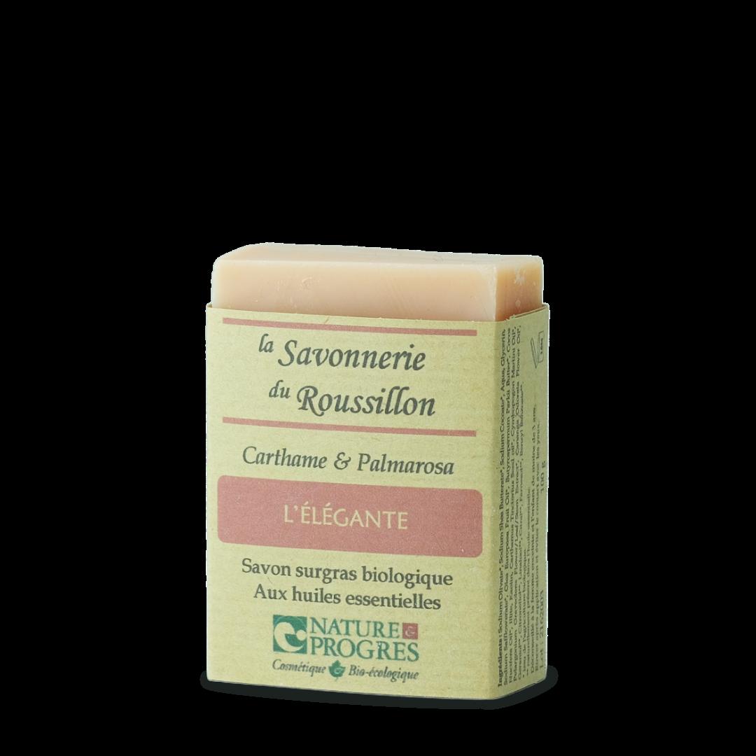 la savonnerie du roussillon l'élégante carthame et palmarosa savon surgras biologique aux huiles essentielles
