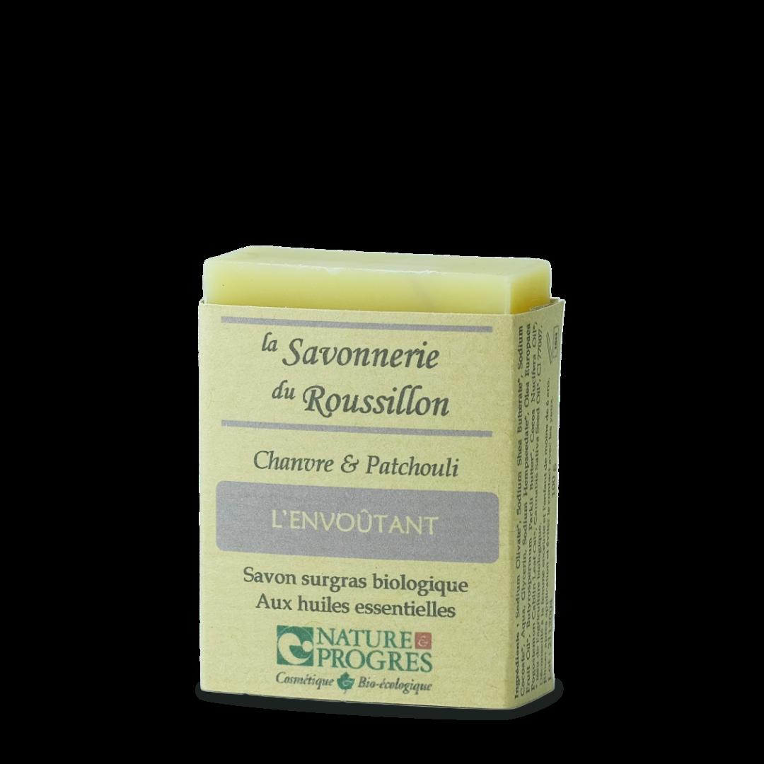 la savonnerie du roussillon l'envoutant chanvre et patchouli savon surgras biologique aux huiles essentielles