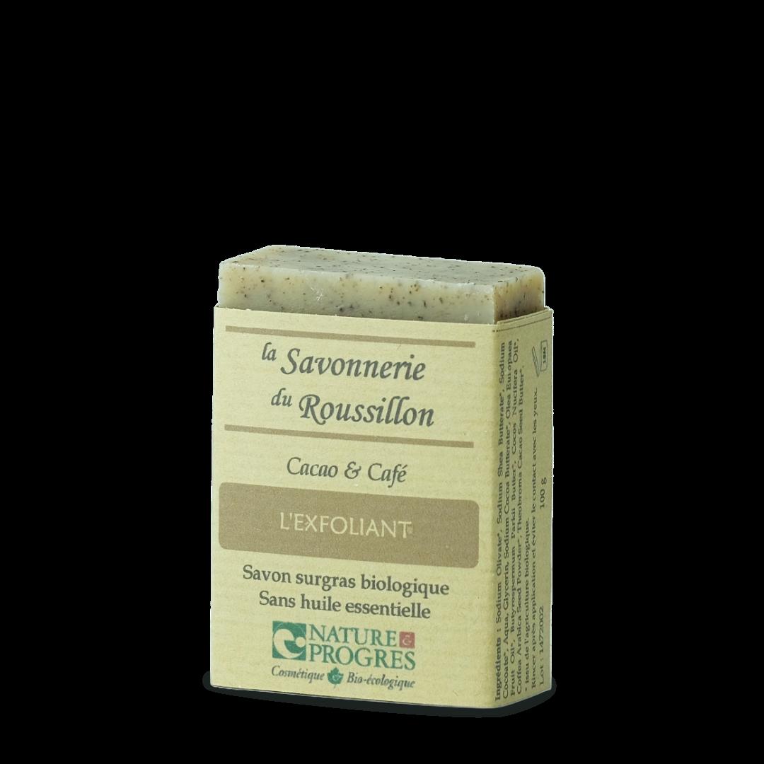 la savonnerie du roussillon l'exfoliant cacao et café savon surgras biologique sans huile essentielle