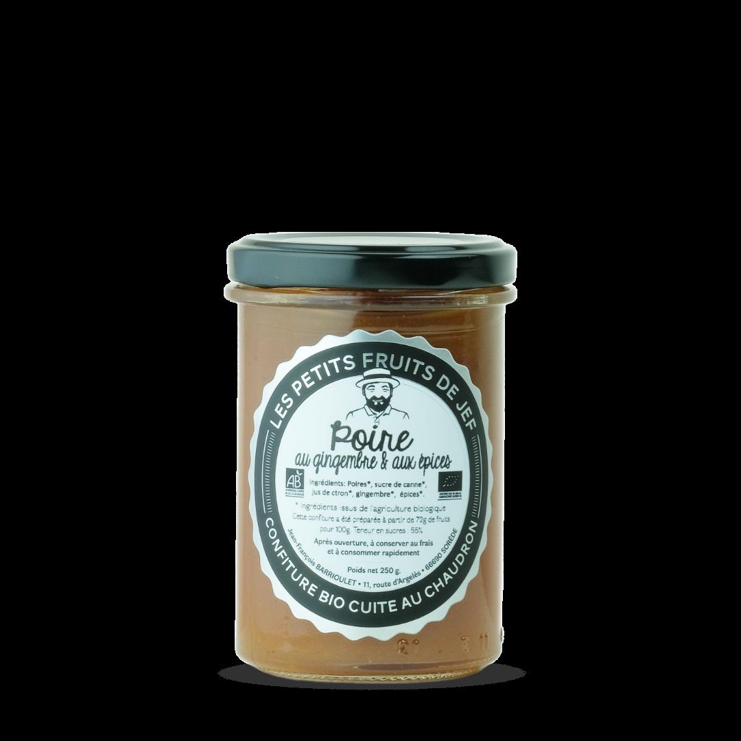 confiture de poire au gingembre et aux épices, les petits fruits de Jef, Confiture bio cuite au chaudron