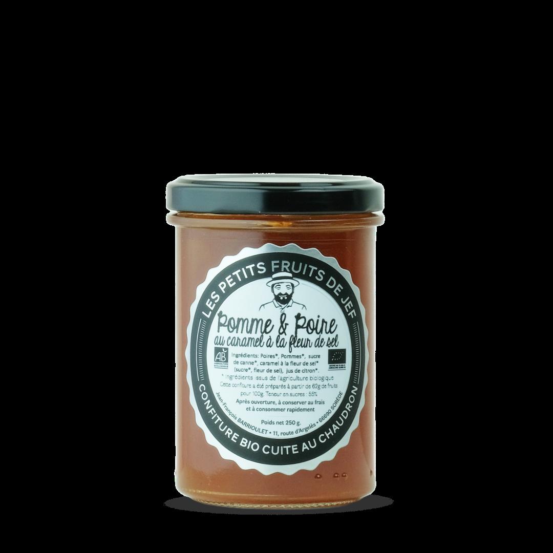 confiture de pomme et poire au caramel à la fleur de sel, les petits fruits de Jef, Confiture bio cuite au chaudron
