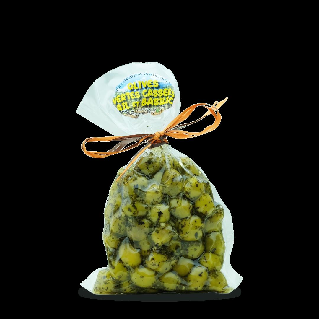 olives vertes cassées ail et basilic fabrication artisanale